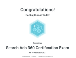 Search Ads 360 Certification